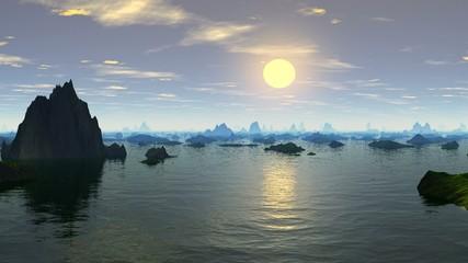 Fjords, sunset.
