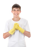 Teenager in Rubber Gloves