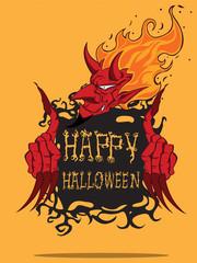 Red Devil. Halloween monster