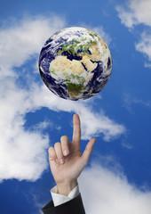 Indicando il pianeta terra