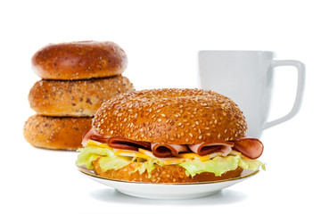 Ham and Cheese Bagel Sandwich Breakfast