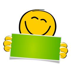 Smiley mit grünem Schild