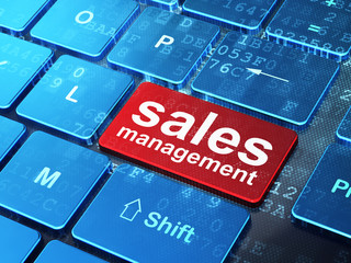Advertising concept: Sales Management on computer keyboard backg