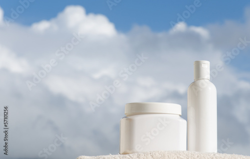 Toiletries in clouds