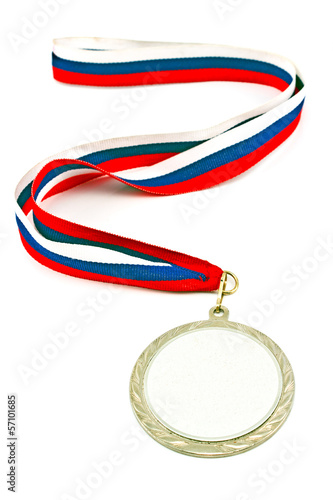 Silver medal with color stripes isolated on white