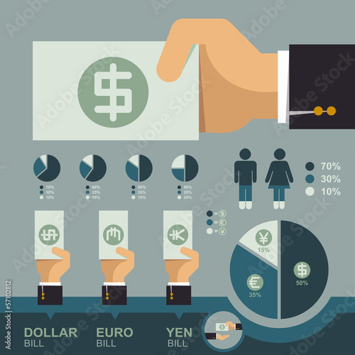 Hand holding money bill infographics, Business concept