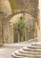 French village, typical street in Provence town.