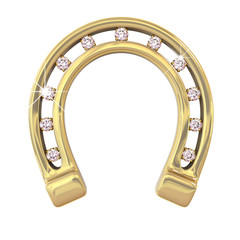 golden horseshoe with diamonds on a white background