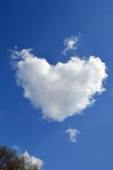 cloud in the shape a heart on blue sky