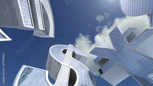 Buildings Currency Symbols. Business 3d animation