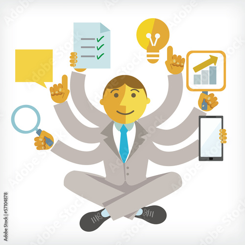 illustration of busy businessman