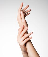 Beautiful elegant female hands with healthy clean skin