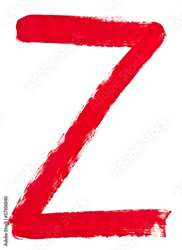 letter z hand painted by red brush