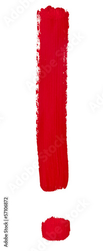 exclamation point painted by red brush