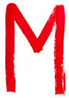 letter m hand painted by red brush