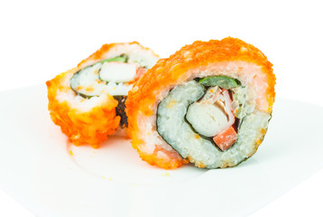 Delicious California rolls on dish