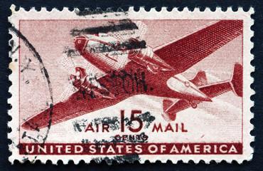 Postage stamp USA 1941 Twin-motored transport plane