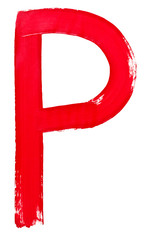 letter p hand painted by red brush