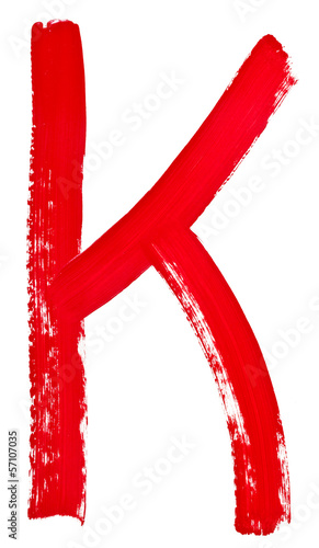 letter k hand painted by red brush