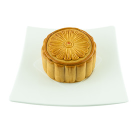 Mid-Autumn Festival of Chinese moon cake on dish