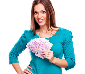 Young woman holding Euro bills