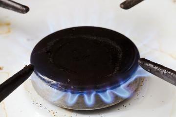 burning gas in burner ring