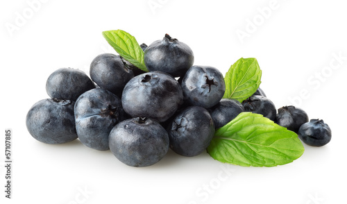 Sweet blueberry with green leaves