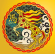 Year of the horse in colored with gold background