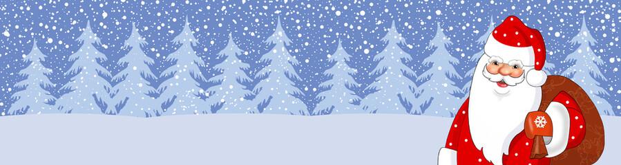 Баннер новогодний .Дед Мороз с мешком подарков