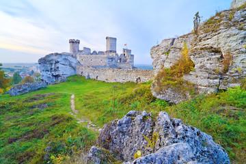 Old medieval castle on rocks. Ogrodzieniec, Poland.