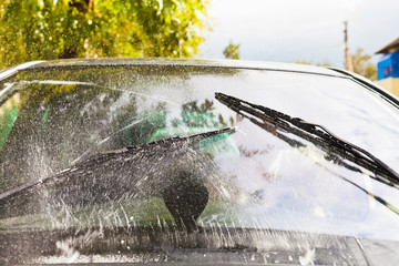 car wipers wash windshield