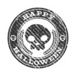 Happy Halloween skull rubber stamp icon