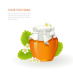Honey in glass jar and flowers on white background