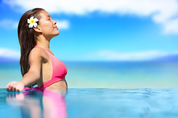 Spa vacation retreat woman relaxing at travel resort