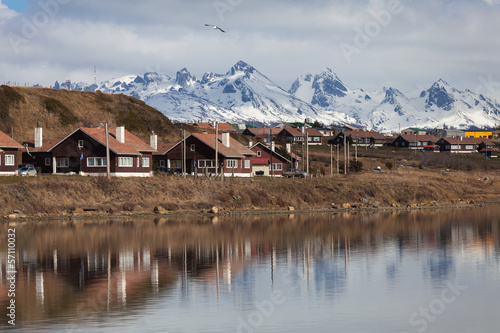A view of Ushuaia, Tierra del Fuego. Boats line the harbor in Us