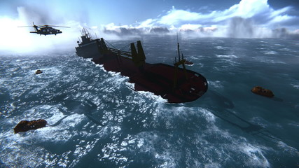Sinking of an oil tanker