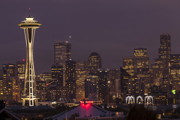 Seattle skyline at night.