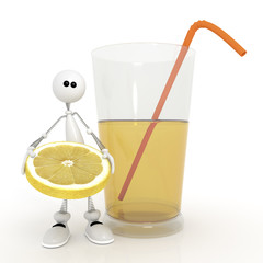 The 3D little man with a cocktail.
