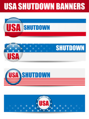Government Shutdown USA Closed Banners.