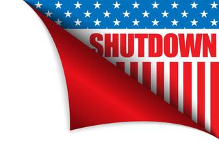 Shutdown Closed United States of America Page Corner