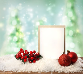 Message card with Christmas ornaments