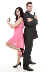 man detective secret agent criminal and woman with gun