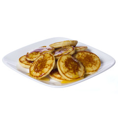 Pancakes with honey on square plate isolated. Delicious Dessert