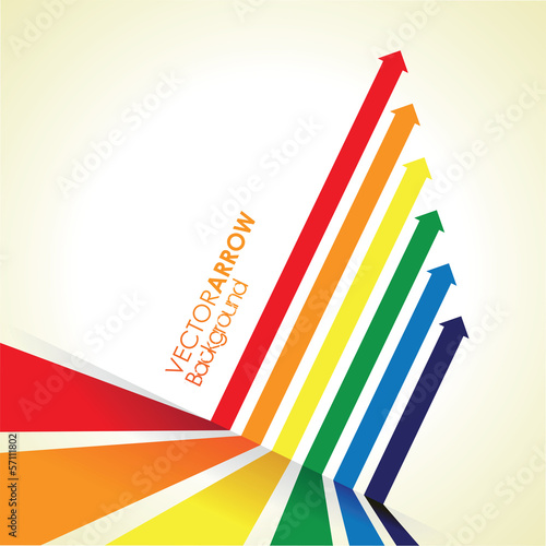 a rainbow coloured arrow line perspective background