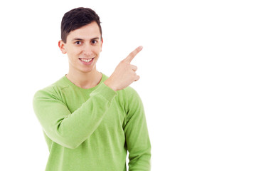Happy man pointing at copy space, isolated over a white backgrou