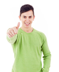 Laughing casual man thumbs up on white background