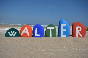 Walter, male name on colourful stones