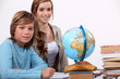 schoolmistress teaching geography
