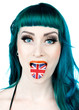 woman with tongue as united kingdom flag