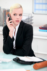 Businesswoman on mobile phone